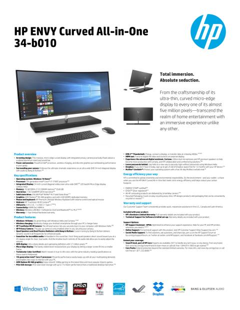 HP Envy Curved All In One Datasheet eng