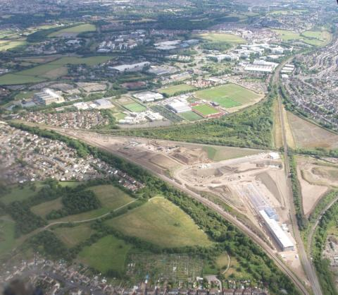 Aerial photo of Hitachi's Stoke Gifford construction site - May 2014