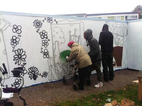 Helsingborgshem har fått hedersomnämnande för konstplanket på Drottninghög