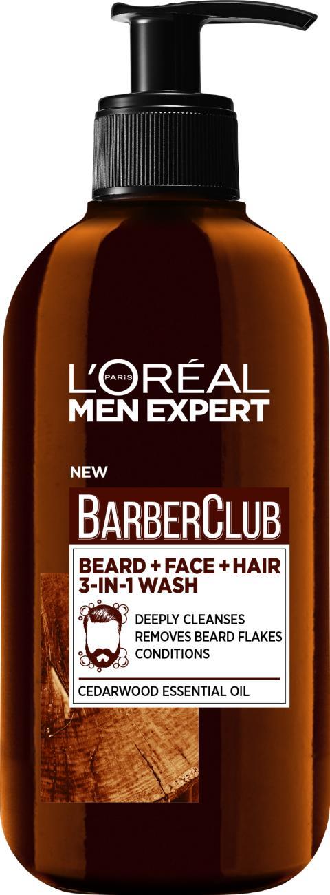 L'Oréal Paris Men Expert Barber Club 200 ml 3-In-1 Wash, parralle, kasvoille ja hiuksille
