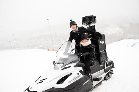 Google och Street View-snöskotern på plats i Hammarbybacken