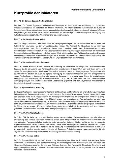 Parkinsoninitiative: Kurzprofile der Initiatoren