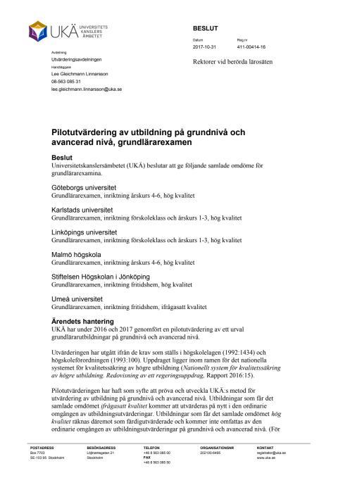 Beslut Pilotutvärdering av utbildning på grundnivå och avancerad nivå, grundlärarexamen