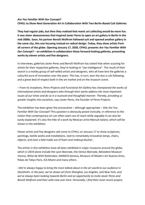 Press Release Are You Familiar With Our Concept? at CFHILL