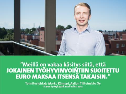 Aallon Tilitoimisto – Eteran Työkykypalkintofinalisti 2017: Korvat auki henkilöstön huolille