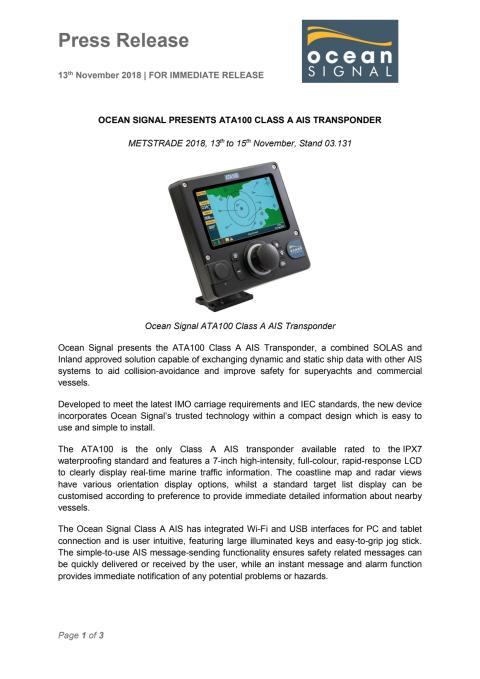 Ocean Signal Presents ATA100 Class A AIS Transponder