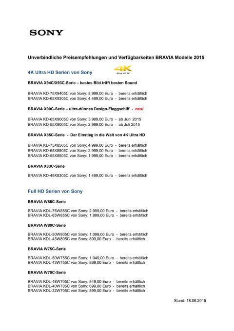 Sony BRAVIA 2015_Preise und Verfügbarkeiten