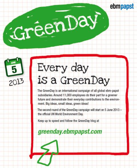 GreenDay på ebm-papst den 5:e juni - FN:s Världsmiljödag