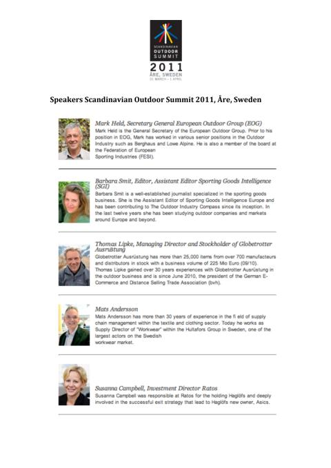 Speakers Scandinavian Outdoor Summit 2011