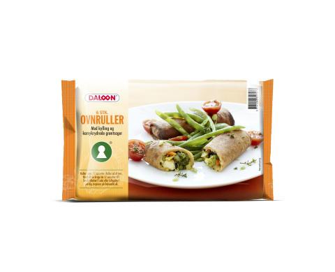 Ovnruller med kylling og karrykrydrede grøntsager