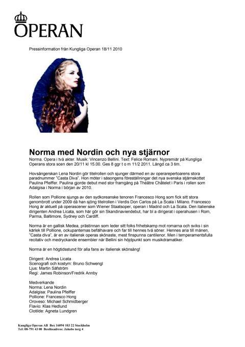 Norma med Nordin och nya stjärnor