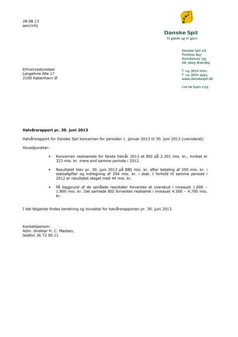 Halvårsrapport 2013