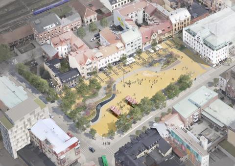 Illustration av framtida Stora torg i Eslöv