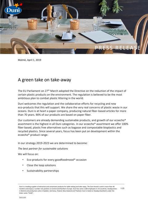 A green take on take-away