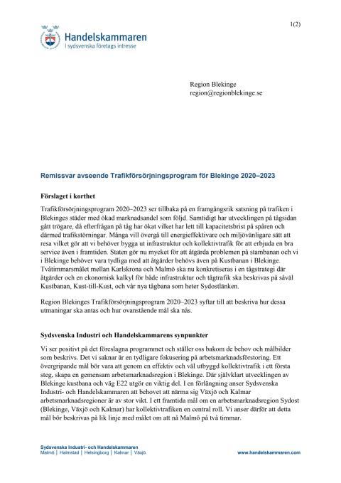 Remissvar avseende Trafikförsörjningsprogram för Blekinge 2020–2023