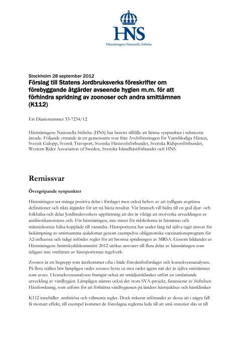 Hästnäringens gemensamma remissvar gällande Jordbruksverkets föreslagna hygienregler