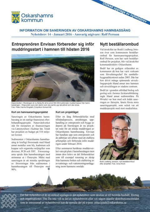 Nyhetsbrev 14 - Sanering av Oskarshamns hamnbassäng