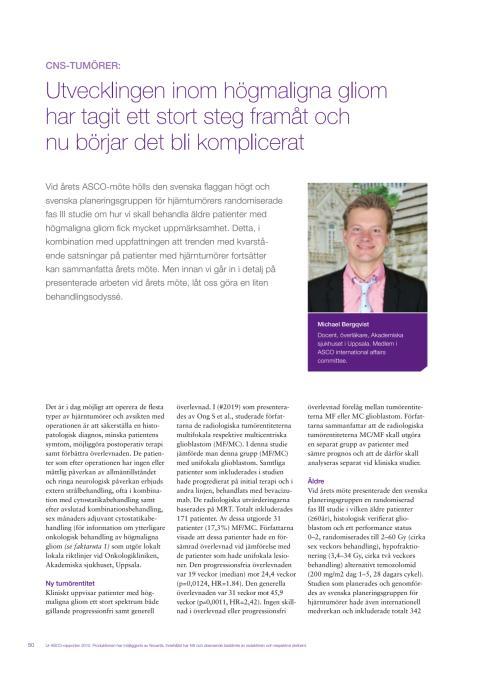 CNS-tumörer - docent Michael Bergqvist rapporterar från ASCO 2010