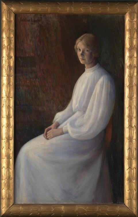 Kris Laache Torne, «Portrett av Lalla Hvalstad», 1895. Med ramme.