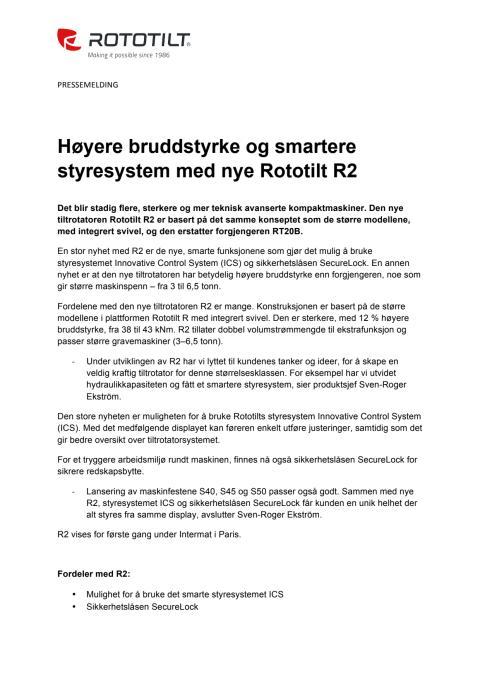 Høyere bruddstyrke og smartere styresystem med nye Rototilt R2