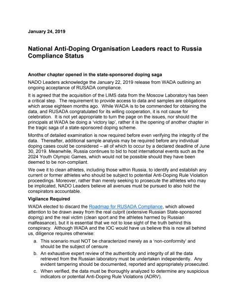 Nado leaders statement