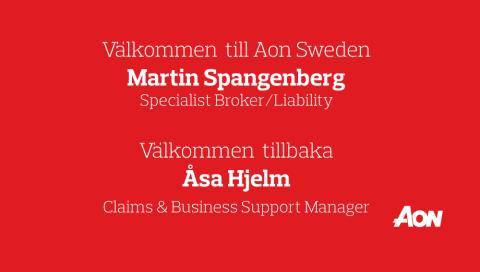 Martin Spangenberg & Åsa Hjelm rekryteras till Aon Sweden