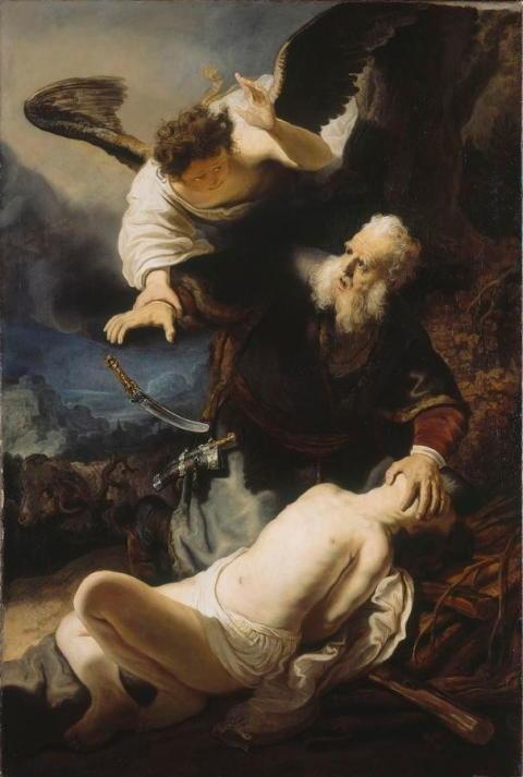Rembrandt, Ängeln hindrar Abraham från att offra Isa.