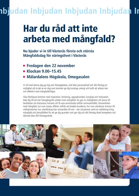 Inbjudan till Mångfaldsdagen den 25 november 2013: Har du råd att inte arbeta med mångfald