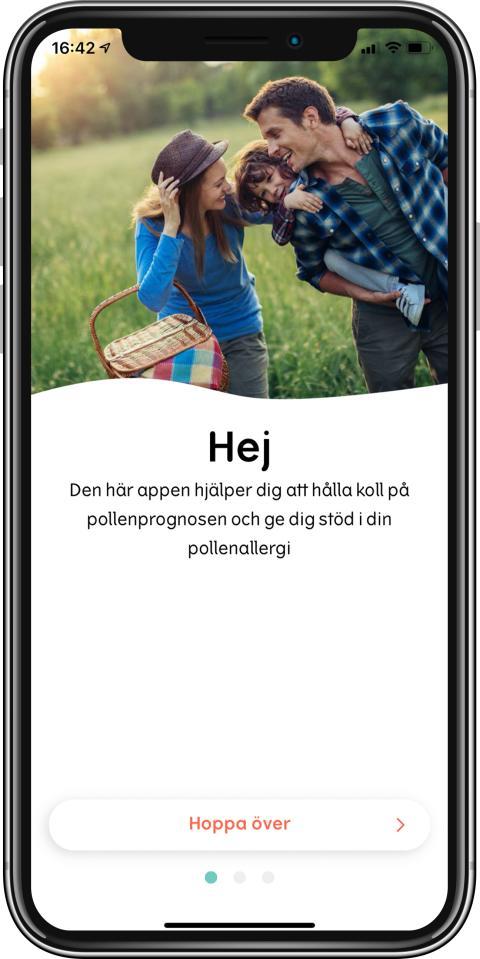Pollenkoll-app startsida
