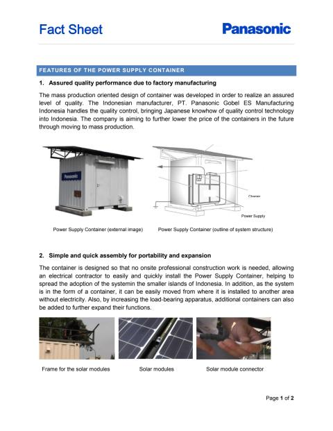 Panasonic Power Supply Container Fact Sheet