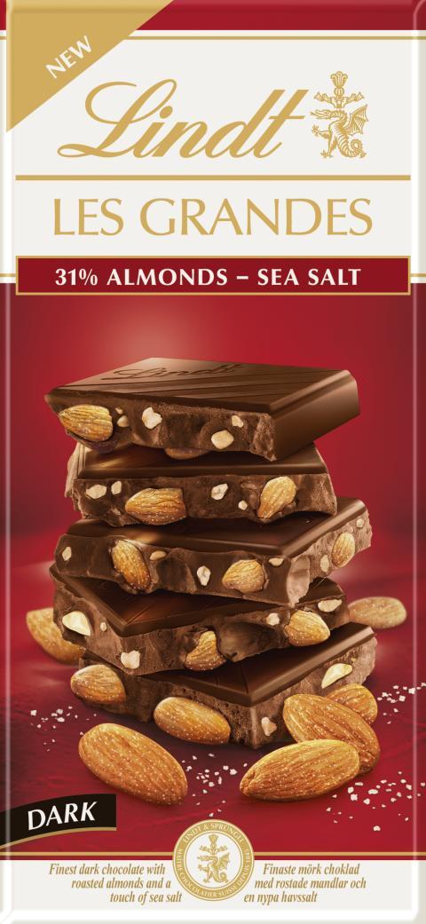 Lindt Les Grandes Dark Almond Sea Salt 150g