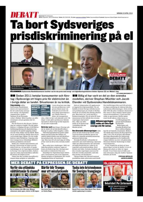Ta bort Sydsveriges prisdiskriminering på el