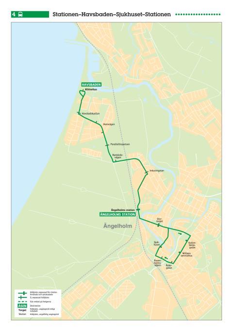 Stadsbuss linje 4 i Ängelholm, karta och tidtabell, gäller från 13 augusti 2017