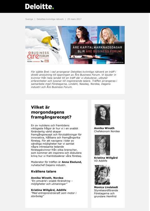 Inbjudan till kvinnligt nätverk 29 mars 2017