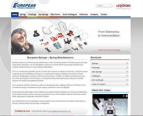 European Springs & Pressings Ltd Launch New Website