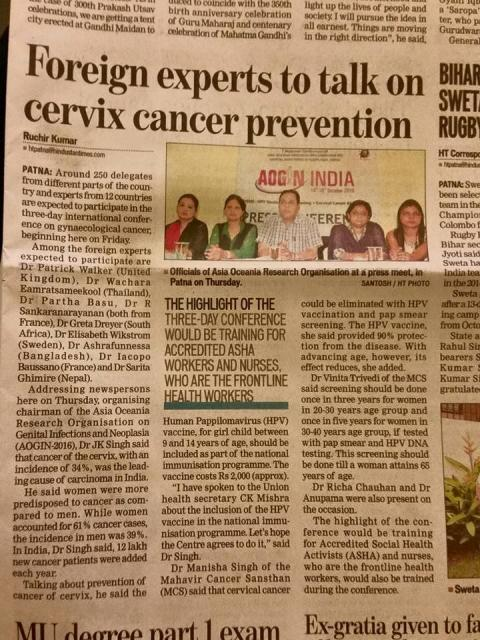 Gynius' Medical Director part of expert panel speaking about cervical cancer at AOGIN INDIA 2016