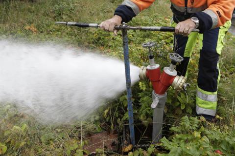 Spolning av vattenledningar i Hemmeslöv