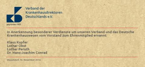 Newsletter KW 48 - Neue Ehrenmitglieder des VKD ernannt