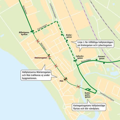 Rååvägen byggs om och linje 1 får ny körväg på Råå.