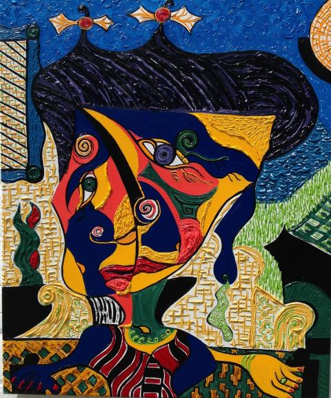 Madame Butterfly. A cubist painting of the famous lady ...
