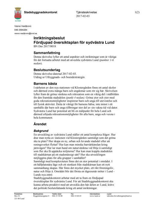 Tjänsteskrivelse Inriktningsbeslut för sydvästra Lund, 170216