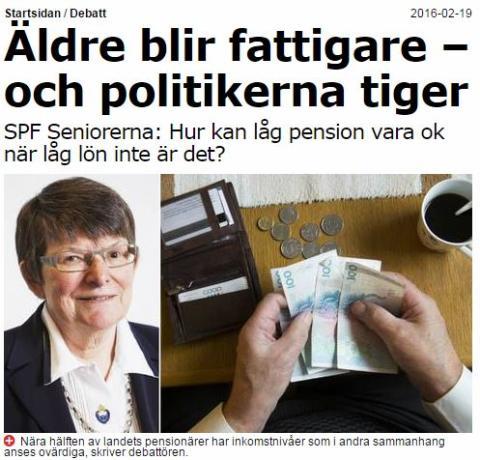 Debattartikel: Äldre blir fattigare – och politikerna tiger