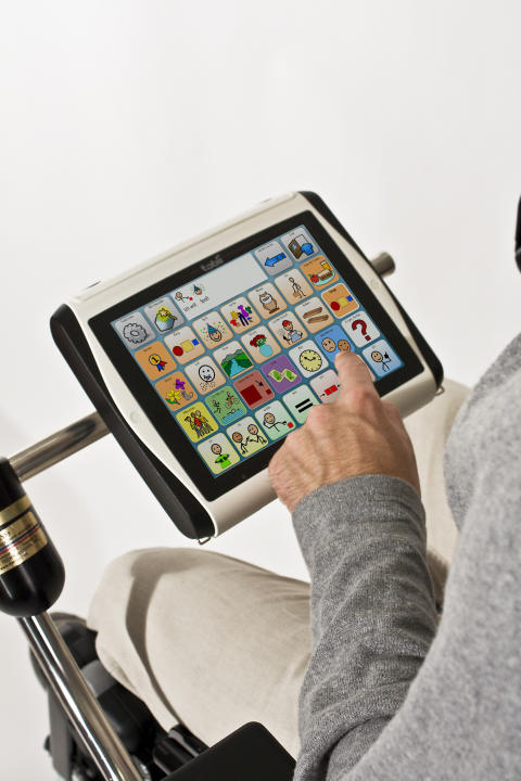 Tobii C8 communication device on wheelchair