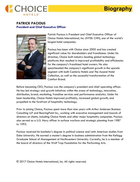 Biography, Patrick Pacious, President and Chief Operating Officer