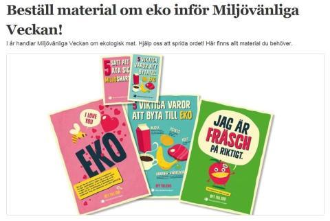 Beställ material om eko inför Miljövänliga Veckan!