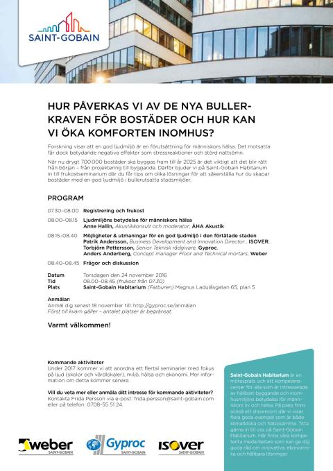 Inbjudan till seminarium om ljudkomfort hos Saint-Gobain Sweden