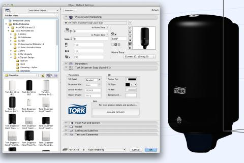 Tork Dispenser Soap Liquid (S1) as a BIM object in 3D
