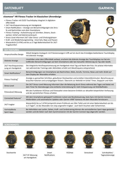 Datenblatt Garmin vívomove HR Premium Gold-Schwarz Lederarmband Schwarz