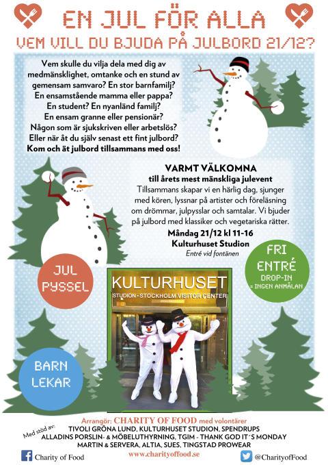 #EnJulFörAlla välkomnar Stockholmarna till en julfest med gratis julbord på Kulturhuset Stadion, kl 11-16
