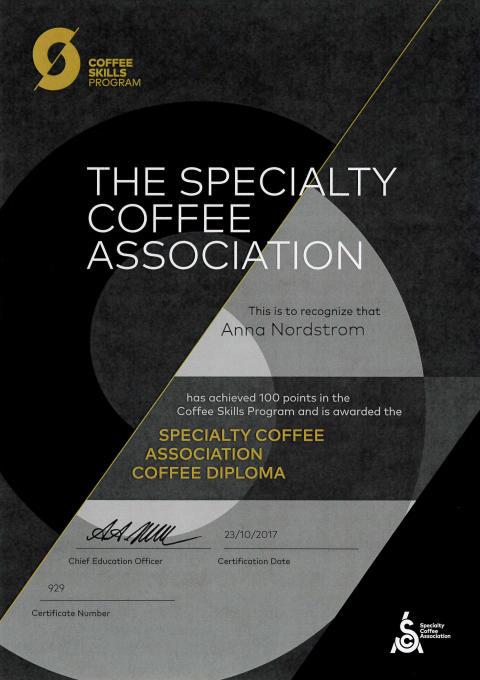 Anna Nordströms SCA-diplom